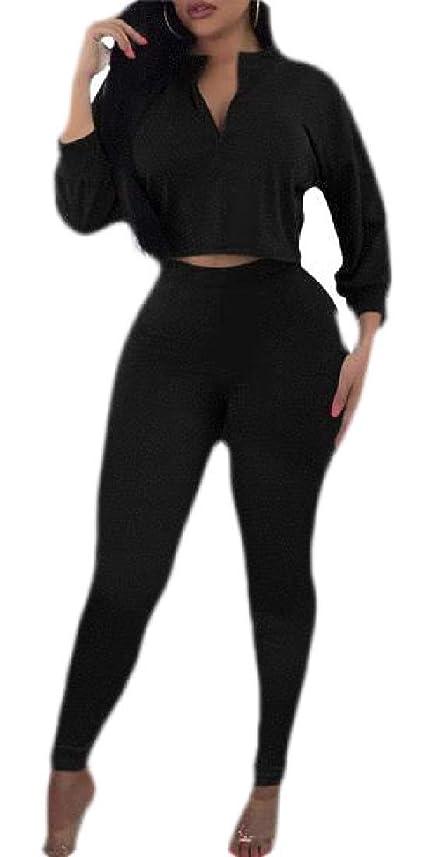 確率スラック名詞女性ファッション長袖Vネッククロップトップとボディコンパンツ2ピース衣装