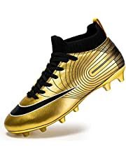 Men's High-top voetbalschoenen Boy's Soccer Atletiek Schoenen Spikes FG/AG Trainers Professionele Sneakers training outdoor schoenen Unisex Teenager (Color : Gold, Size : 41)