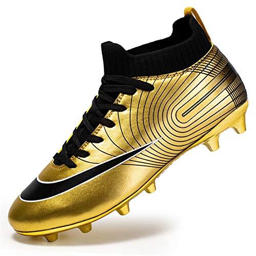 YISHIO Männer Hoch-Spitze Fußballschuhe des Jungen Fußball Leichtathletik Schuhe Spikes FG/AG-Trainer-Berufsturnschuh-Trainingsschuhe Outdoor Schuhe Unisex Teenager (Color : Gold, Size : 37)