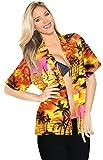 LA LEELA Botón de Crucero Aloha Abajo túnica Playa Suaves Mujeres Blusa de Manga Corta Likre Suave túnica Camisa superiortop Ocasional XL Calabaza Naranja_X53