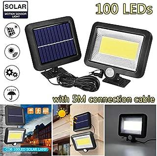 YETE - Lámpara solar de 30 W, 100 LED, impermeable,