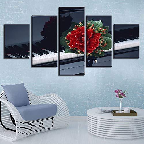 WJDJT kunstdruk op canvas, muziekinstrument voor piano, afbeelding van muurkunst, 5 delen, moderne schilderijen, afbeeldingen voor woonkamer, slaapkamer, tv, achtergrond Home Gym Decor 150x80cm