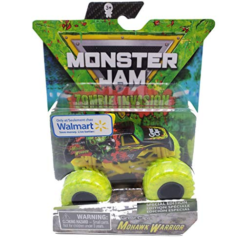 MJ Official Zombie Invasion Series - Single Pack 2020 Monster Trucks Release, 1:64 Scale Walmart Exclusive Special Edition! (Mohawk Warrior)