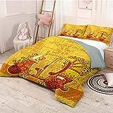HELLOLEON Decor - Juego de 3 fundas de edredón y 2 fundas de almohada (1 funda de edredón y 2 fundas de almohada), color rojo