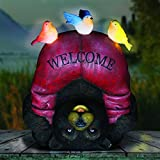 Exhart Solar Welcome Bear & Birds Garden Statue - Hand-Painted Statue of an Upside-Down Brown Bear w/Welcome Sign Red Pants & Birds on Top - Bear Decor w/Solar LED Lights 8.66L x 6.69W x 10.24H