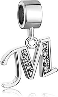 Alphabet Beads A-Z Letter Initial Spacer Dangle Clear Crystal Charm For Snake Chain Bracelets