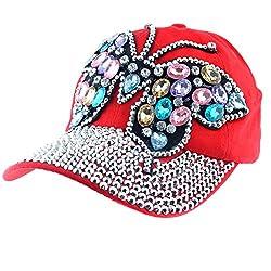 Butterfly Design Bling Womens Baseball Red Cap