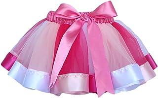 LUOEM Tutu Skirts Layered Rainbow Tutu Skirt Bow Dance Ruffle Skirt Dress for Girls Size L
