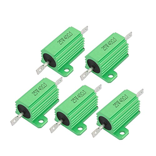 Aexit 5PCS Green Fixed Resistors 40 Ohm 25Watt Aluminum Chassis Mounted Single Resistors Wirewound Resistor