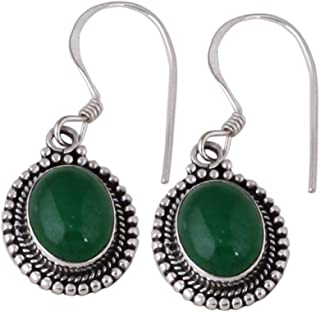 Orecchini in onice verde ovale, orecchini pendenti, orecchini pendenti in argento sterling 925 per regalo donna, Silver Ea...