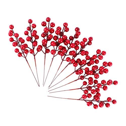 ABOOFAN 10Pcs Ramos de Baga Vermelha Natal Baga Artificial Haste Diy Grinalda Arranjo de Flores Baga Escolhe Vaso Decorativo Enchimento de Bagas Falsas Decoração 20X1. 5X1. 5Cm