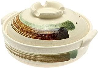 Kotobuki 190-973D Brushstroke Japanese Donabe Hot Pot, 11-1/2-Inch, White with Brown and Green