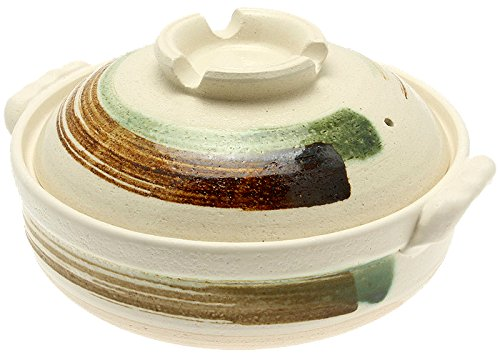 Kotobuki Brushstroke Japanese Donabe Hot Pot, 11-1/2-Inch, White with Brown and Green