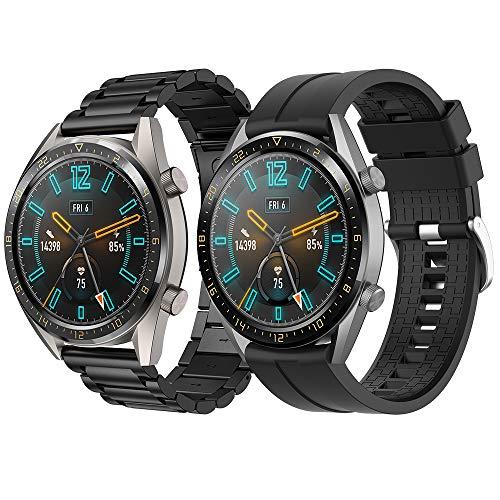 Supore Correa Compatible con Huawei Watch GT2 46mm/Watch GT 46mm/Watch GT Active/Watch 2 Pro/Honor Watch Magic/Galaxy Watch 46mm/Gear S3/Gear 2, Correa de Repuesto de Acero Inoxidable de 22 mm