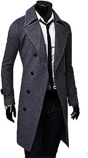 06b2270e7db Abrigo Largo de los Hombres de otoño Abrigo Grueso y cálido Chaqueta Slim  Fit Abrigo de