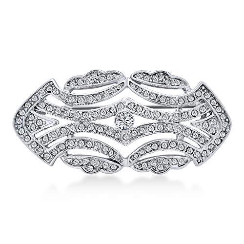 Bling Jewelry Gran Cristal De Moda Vintage Art Deco Estilo Gatsby Inspirada Bufanda Broche para Mujer De Latón Chapado En Plata