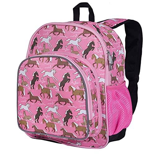 Wildkin 30,5 cm Rucksack für Kleinkinder, Jungen und Mädchen, ideal für Kita, Vorschule und Kindergarten, perfekte Größe für Schule und Reise, Gewinner des Mom's Choice Award, Olive Kids (Pferde in Pink)