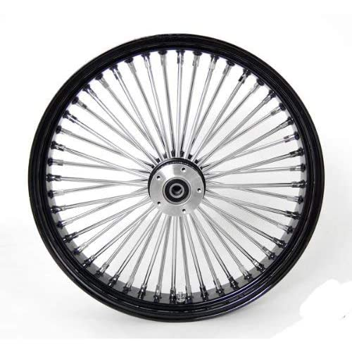 23 x 3.5 Black Mammoth 48 Fat Spokes Front Wheel for Harley FL Bagger Dual Disc