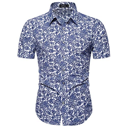 Exteren Men's Button Down Shirts Hawaiian Short Casual Short Sleeves Printed Shirts Aloha Beach Summer Blouse