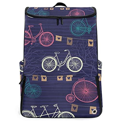 YUDILINSA Viaje Mochila,Banderas de árboles de bicicleta retro de patrones sin fisuras,Universitaria Mochila,Laptop Backpack con Compartimento para zapatos