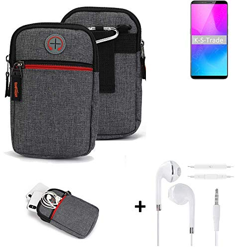 K-S-Trade® Gürtel-Tasche + Kopfhörer Für Nubia Z18 Mini Handy-Tasche Schutz-hülle Grau Zusatzfächer 1x