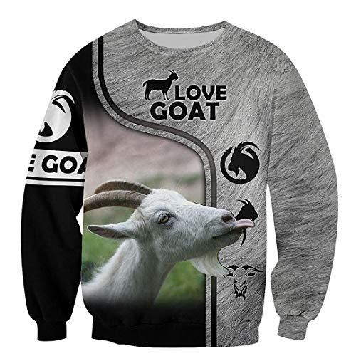 Beautiful Goat 3D All Over Printed Mens Hoodie Sudadera Unisex Harajuku Tops Black XL