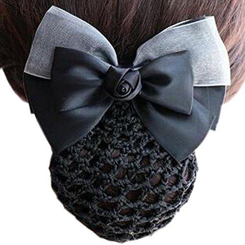 Maillot élastique à la mode pour dames Maillot de cheveux Hair Snood Bowtie Mesh, 4 noir et gris
