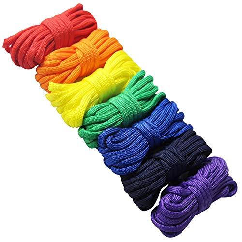 Edgeam, set di 7 paracord, corde di sopravvivenza a 7fili per paracadute, o per creare braccialetti e giocattoli fai da te Multicolor