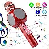 Herefun Micrófono Karaoke Bluetooth, Bluetooth Altavoz, con Baile de Luces LED para Niños Cantar, Función de Eco,Compatible con PC (Rojo)