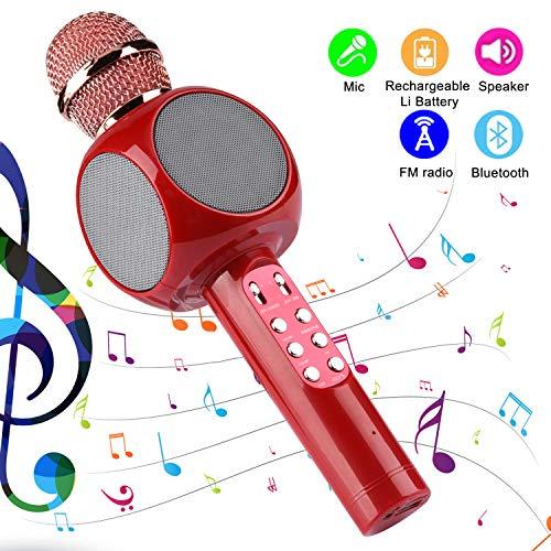 petit un compact Microphone karaoké sans fil Herefun avec Bluetooth pour les enfants, lecteur micro portable pour Noël…