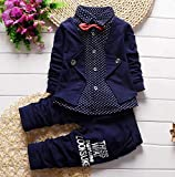 QMQ's Boy's Cotton Blazer Navy Shirt and Pant Suit Set in Navy Blue(4-5 Year)