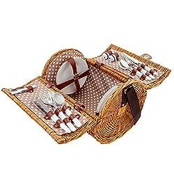 Mendler picnic basket set for 4 people, wicker basket