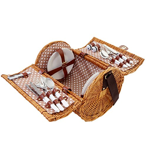 Mendler Picknickkorb-Set für 4 Personen, Picknicktasche Weiden-Korb, Porzellan Edelstahl, beige-weiß