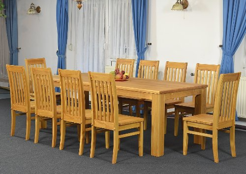 Brasilmöbel Essgruppe Tisch 240x100 + 10 x Stuhl Klassik, Farbton Honig, Pinie massiv
