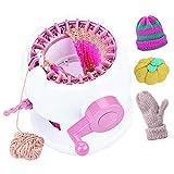 Máquina de tricô, 22 kits de tear de tricô de agulhas para iniciantes adultos e crianças, tear redondo de tricô inteligente com contador de linha, máquina de crochê para meias, chapéus e lenços, suprimentos de tricô e crochê