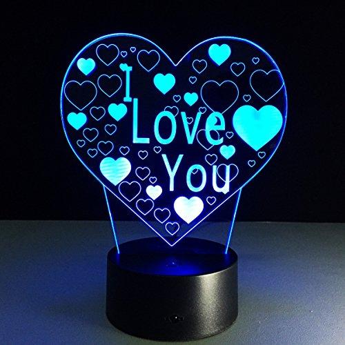 Alimenté par USB 3D Love Heart ILLusion Night Light 7 couleurs Changing Table Desk Deco Lamp Chambre à coucher Enfants Salle de nuit décorative Cadeaux de vacances de jouet