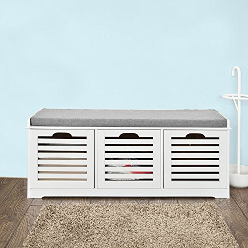 Haotian Shoe Storage Bench with Drawers and Padded Seat Cushion.