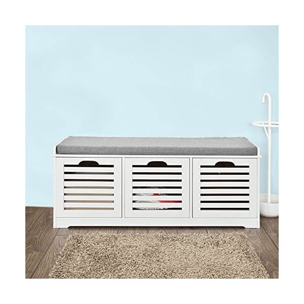 Haotian FSR23-W, White Storage Bench with 3 Drawers & Padded Seat Cushion, Hallway Bench Shoe Cabinet Shoe Bench