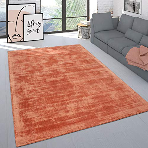 Paco Home Teppich Handgefertigt Hochwertig Einfarbig Kurzflor Modern Materialmix In Aprico, Grösse:120x170 cm