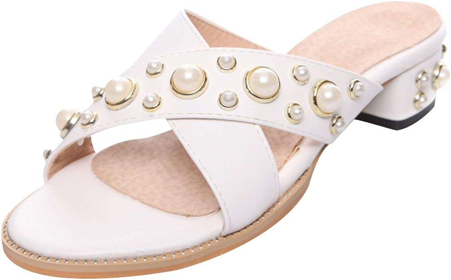 Gcanwea Women's Open Toe Low Heel Studded Slippers Sandals Summer Pearls Casual Stylish Ladies Non-Slip Soles Flexibility Comfortable Breathable Skinny White 4.5 M US Sandals