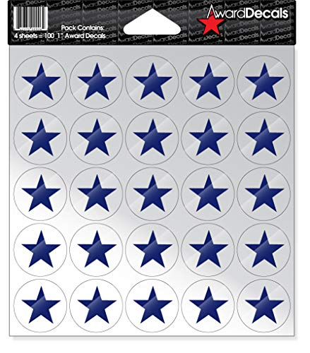 Award Decals Star (100 Stickers) (Royal Blue on Clear)