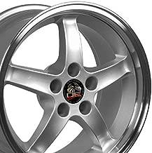 OE Wheels 17 Inch Fit Ford Mustang Cobra R Deep Dish Silver Mach'd Lip 17x9 Rims SET