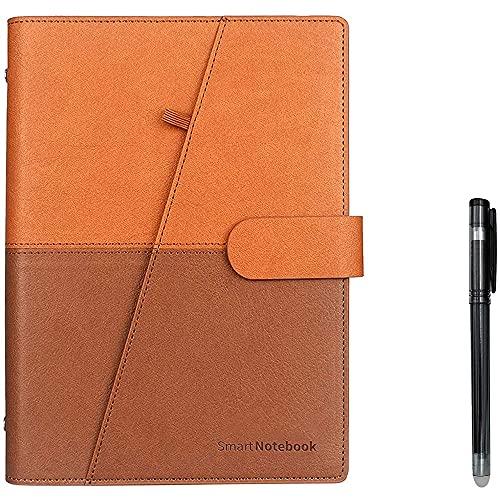 Kaxofang Cuaderno Inteligente Borrable Papel de Cuero Reutilizables Bloc de Notas de Cuaderno Encuadernado con Alambre Forrado con BolíGrafo Amarillo y MarróN