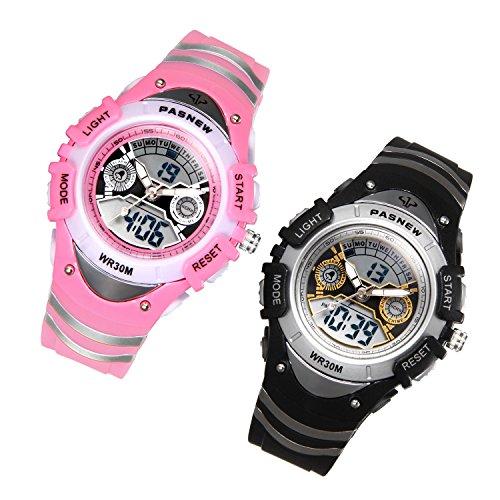 JewelryWe 2pcs Kinder Junge Mädchen Armbanduhr, 30M Wasserdicht 12H Zwei Zeitzone Digital Elektronische Uhr Sportuhr mit LED Licht, Alarm, Stoppuhr, Datum und Tag Farbe:Schwarz, Pink