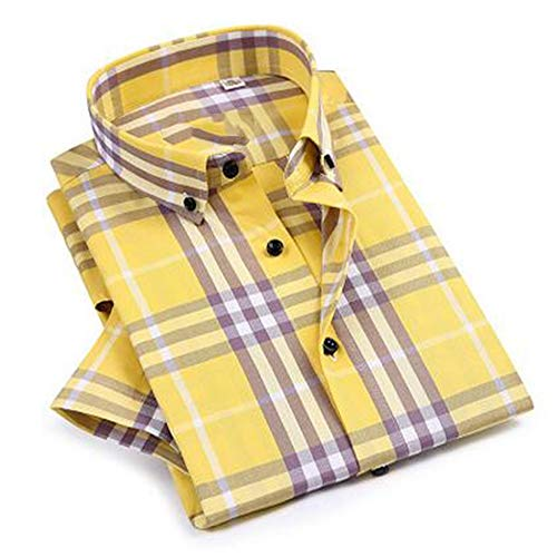 NSSY herenhemd geruit herenhemd met ruitpatroon, comfortabele zomer-standaardfit, korte mouwen, button-down-katoenen overhemd