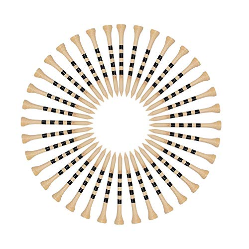 SAPLIZE Golf Tees Durable Bamboo Tees Pack of 150(2-3/4' Available) -Reduce Friction & Side Spin,More Durable & Stable Golf Bamboo Tees