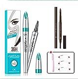 Timpou Lápiz de cejas, kit de lápiz de cejas de microcuchilla impermeable y aplicador de micro tenedor-2 piezas(Marrón claro + Marrón oscuro)