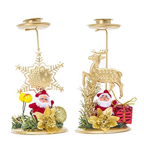 STOBOK Decorazione Natalizia Portacandele Babbo Natale Ornamento candelabro in Ferro Ornamenti Decorazione Desktop - 2pz