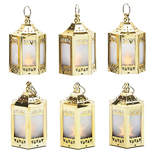 Gold Mini Lantern with LED Star - 4.5 Inch Tall, Warm White 3D Holographic Star Light, Small Indoor Table Decor for Winter Centerpiece, Battery Included - Set of 6