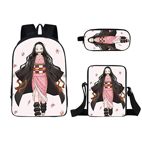 XMXYLP Sac à Dos Universel étanche pour l'école de Voyage en Plein air 3D Anime Sac à Dos Sac à Crayons Messenger Bag Ensemble de Trois pièces, 17